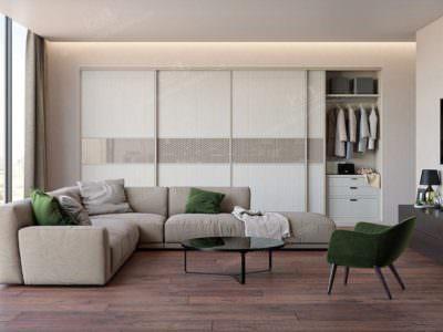 Шкаф-Купе в гостинную белые двери  со вставками из стекла