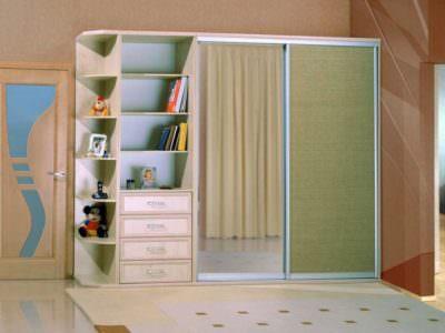Шкаф-Купе для Детской с Открытыми Полками